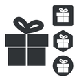 Gift icon set monochrome vector image