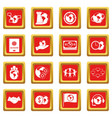 global connections icons set red vector image vector image