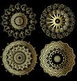 greek vintage round mandala patterns set floral vector image