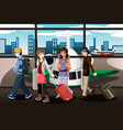 group of young people traveling together vector image vector image