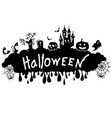 halloween black graphic silhouette with mistery vector image