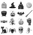 Halloween icons set gray monochrome style vector image vector image
