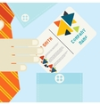 Hand Holding Business Card In Flat Design Style vector image vector image