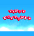 happy birthday hearts balls vector image