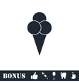 Ice cream balls in waffle cone icon flat vector image vector image