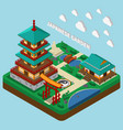 Japanese tower isometric composition