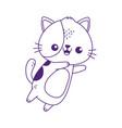 kawaii cute cat mascot cartoon isolated icon vector image