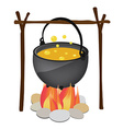Kettle hanging over fire vector image vector image