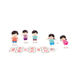 kids playing hopscotch in a playground vector image vector image