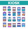 kiosk market stalls types linear icons set vector image vector image