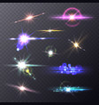 lens flare effects realistic lights camera vector image vector image
