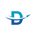 letter d paper airplane travel logo design vector image vector image
