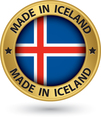 Made in Iceland gold label with flag vector image