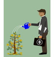 man watering a money tree vector image
