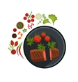 Medium Grilled Steak on Plate vector image vector image