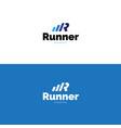 minimalistic r letter sports logo vector image