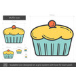 muffin line icon vector image vector image