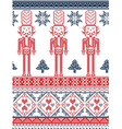 Nordic xmas pattern with nutcracker red and blue vector image vector image