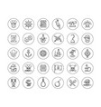 pirate icon set - line drawn objects and character vector image vector image