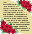 red flower label background vector image vector image