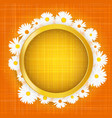 round floral frame with lights effect on bright vector image