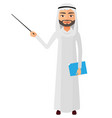 saudi iran business man or teacher with a pointer vector image
