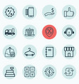 set of 16 commerce icons includes shop rich vector image vector image