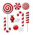 Set with different red and white candies vector | Price: 1 Credit (USD $1)