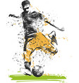 soccer player kicking ball of sport vector image vector image
