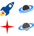 space rocket flat icons vector image
