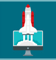 start up rocket icon flat style vector image vector image