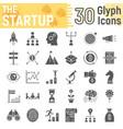 startup glyph icon set development symbols vector image vector image