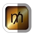 sticker golden square with currency symbol of mill vector image vector image
