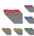 sunglasses sign set of red orange vector image