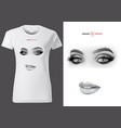 t-shirt design with silver glitter lips vector image vector image