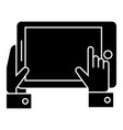tablet in hands icon black vector image vector image