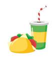 taco and soda food vector image