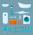 toilet and bathroom furniture pipe and different vector image vector image