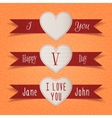 Valentines Day Heart Label and Ribbons Set vector image vector image