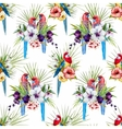 Watercolor rosella bird pattern vector image vector image