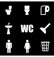 white toilet icon set vector image