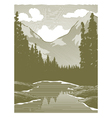 Woodcut Wilderness River Scene vector image vector image
