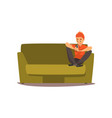 young man sitting on the sofa with smartphone vector image vector image