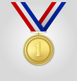 3d realistic gold award medal with color vector image