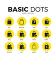 bag flat icons set vector image vector image