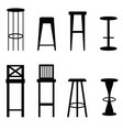 bar stools set in black ilustration vector image