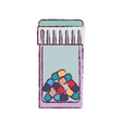 blur bottle with tap and colorful pills vector image vector image