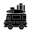 caravan travel camping trailer icon vector image