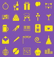 Celebration yellow icons on violet background vector image vector image