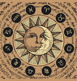 circle zodiac signs with sun and crescent moon